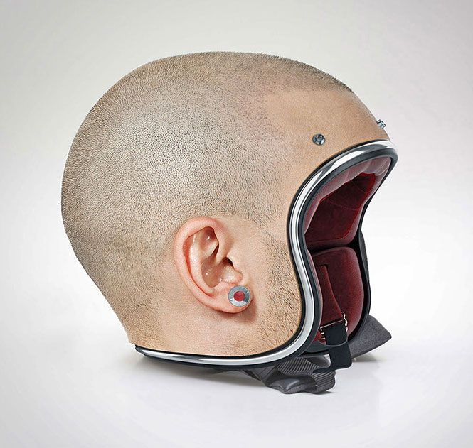 These motorcycle helmets were made using actual human heads that have been deceased... No, not really, in reality, these human head helmets were digitally designed to look like human heads in some sor...