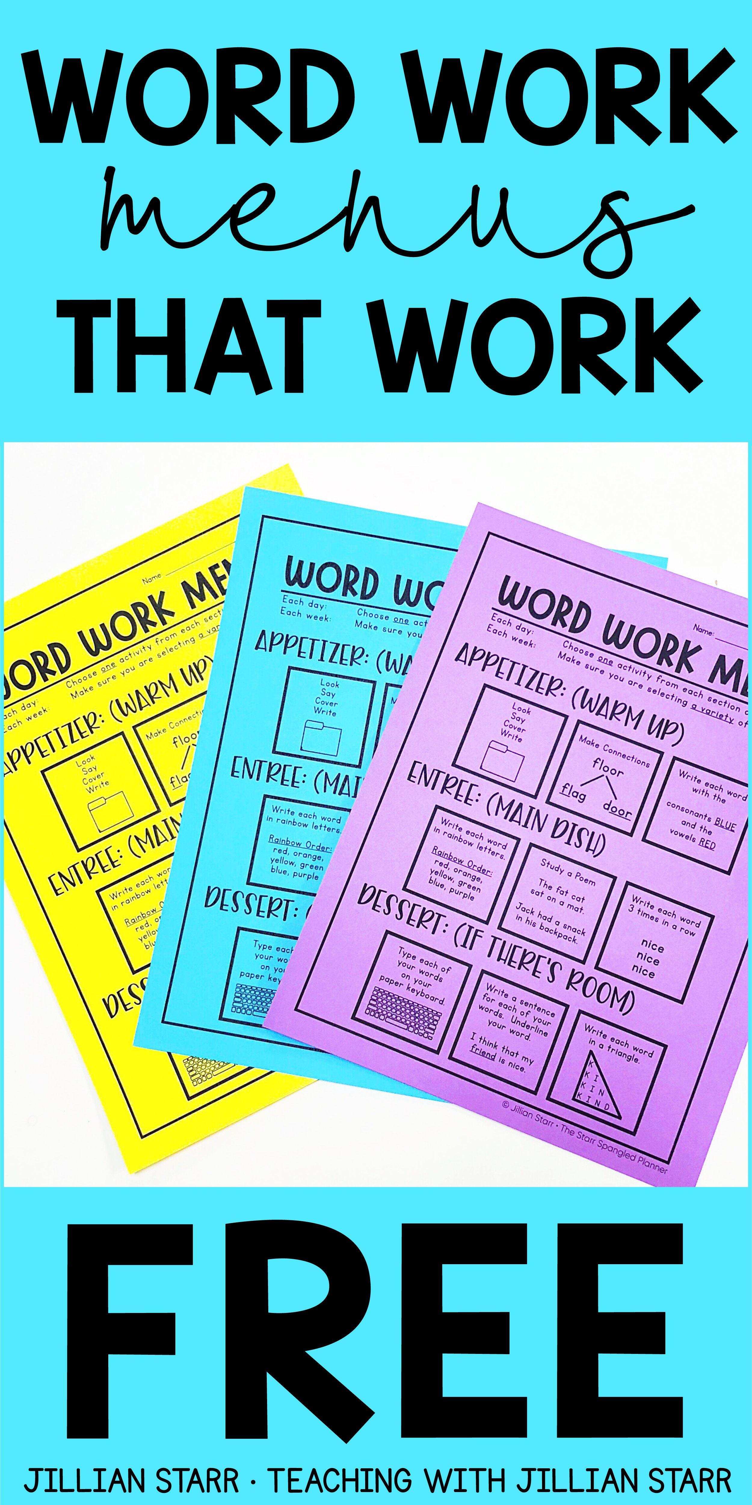 FREE Word Work and Spelling Menus