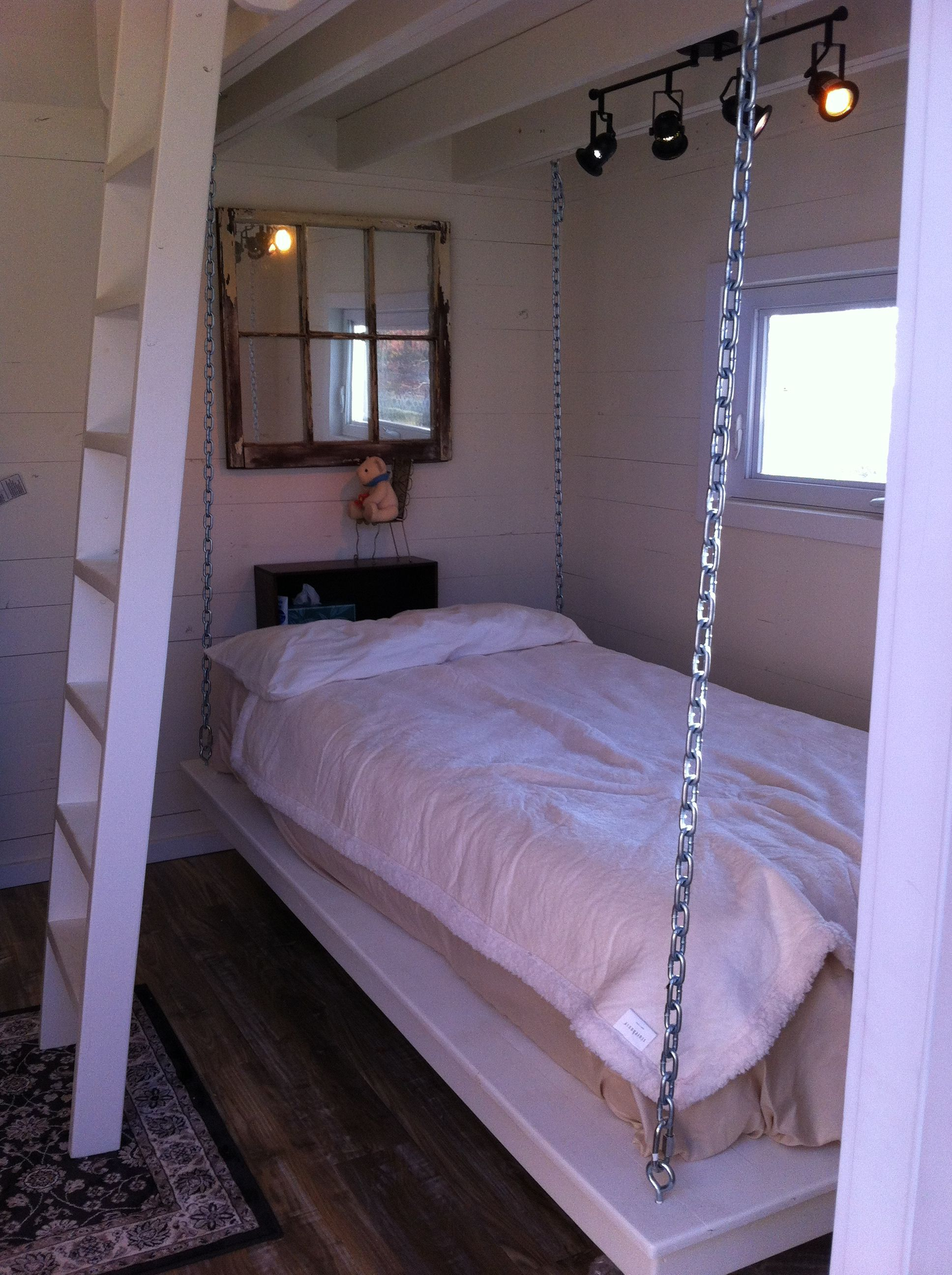 Bed under window ideas  the hanging bed with a mirror i made from an old window and mirror