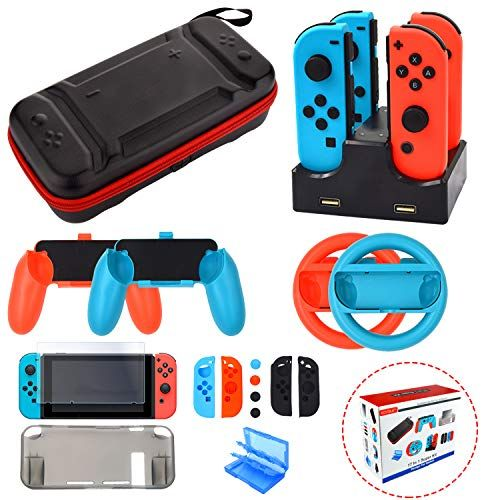 Accessories Kit For Nintendo Switch Games Starter Wheel Grip Caps