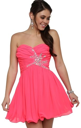 Deb Shops Neon Coral Short Prom Dress $60.00 | Frolic | Pinterest ...