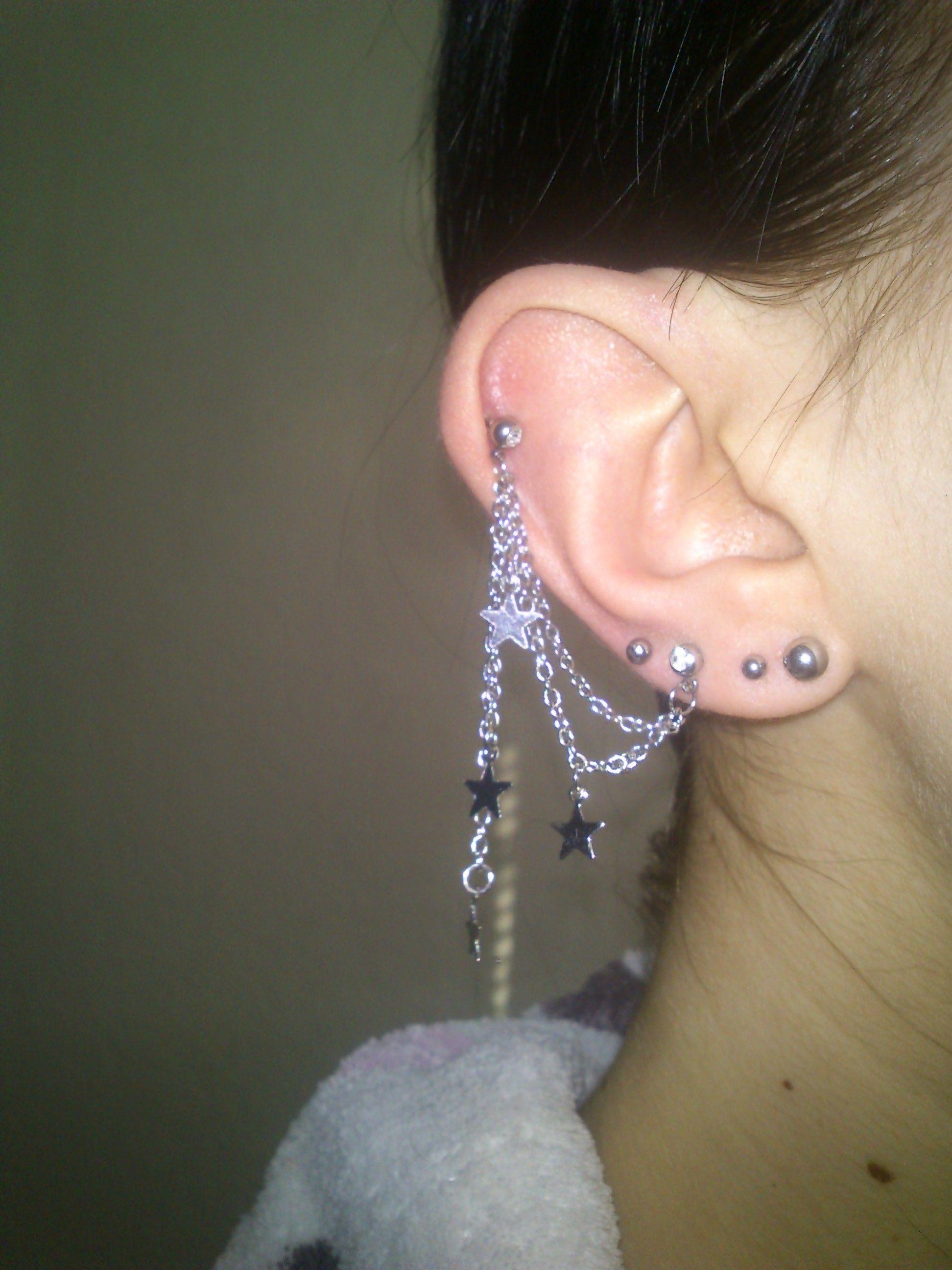 Nose piercing post  Mine star chain helix ear piercng   Piercing  Pinterest
