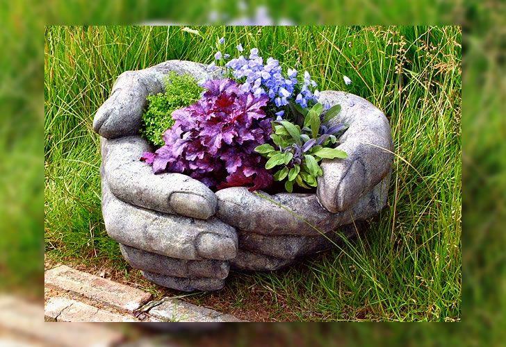Maceta con forma de manos de cemento | DIY | Macetas ...