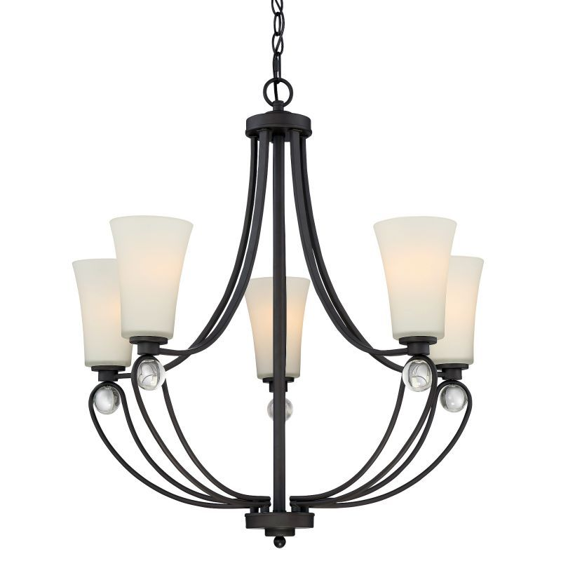 Quoizel aml5005 amelia 5 light 29 wide chandelier with glass fluted shade old bronze indoor