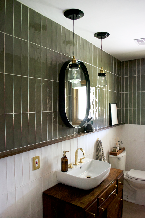Green And White Color Block Tile Bathroom Brepurposed Bathroom
