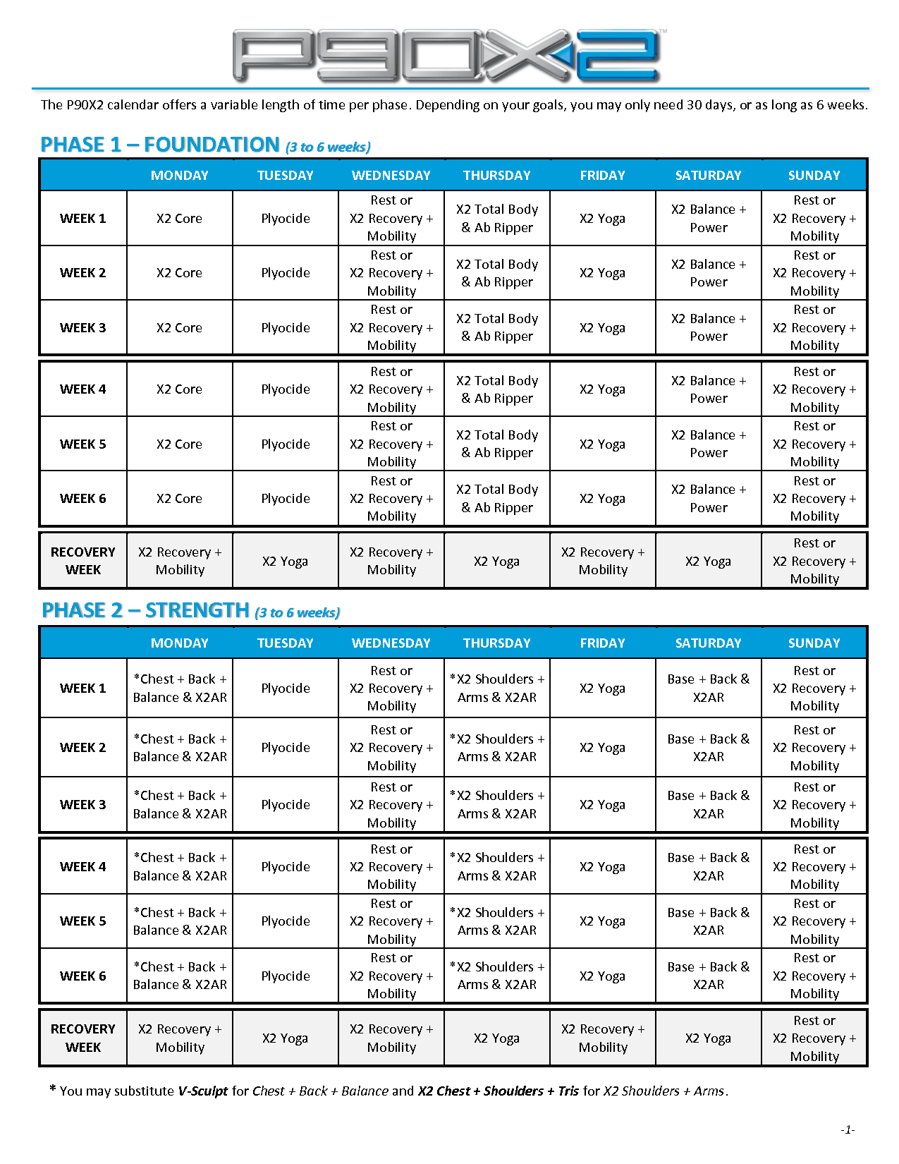 P90x2 Workout Schedule Printable