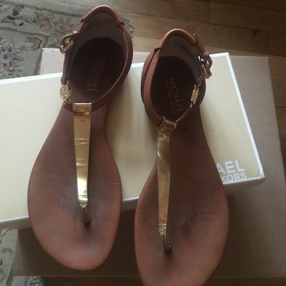 ba3fcdf3070f3b MK Bridget Thong Sandal 7 1 2 gold n brown leather sandal was worn . Real  with original shoe box Michael Kors Shoes Sandals