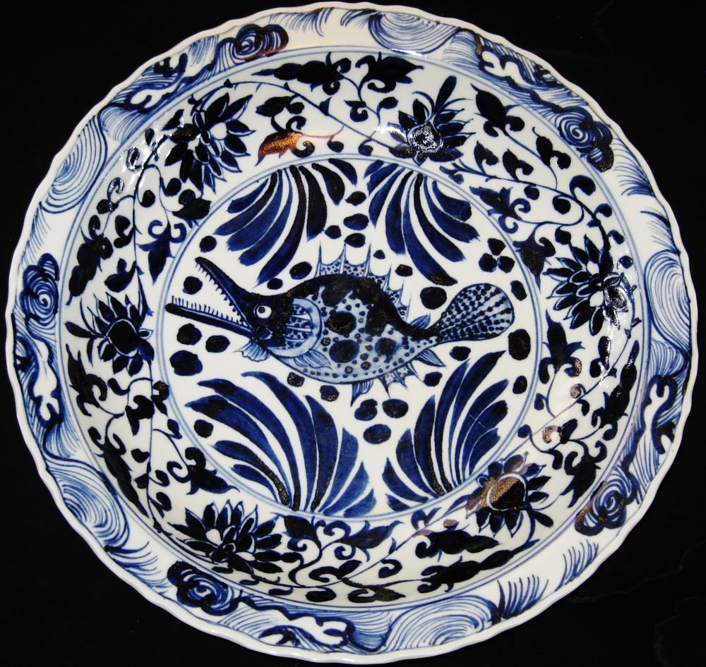 HUGE 44.5CM CHINESE PORCELAIN FISH B&W CHARGER PLATE,19TH C., XUANDE MARK, NR. #China