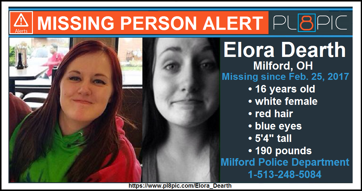 Police In Clermont County Ohio Need Your Help Finding 16 Year Old Elora Dearth Elora Was Last Seen On Saturday Februa Red Hair Blue Eyes 16 Year Old Milford