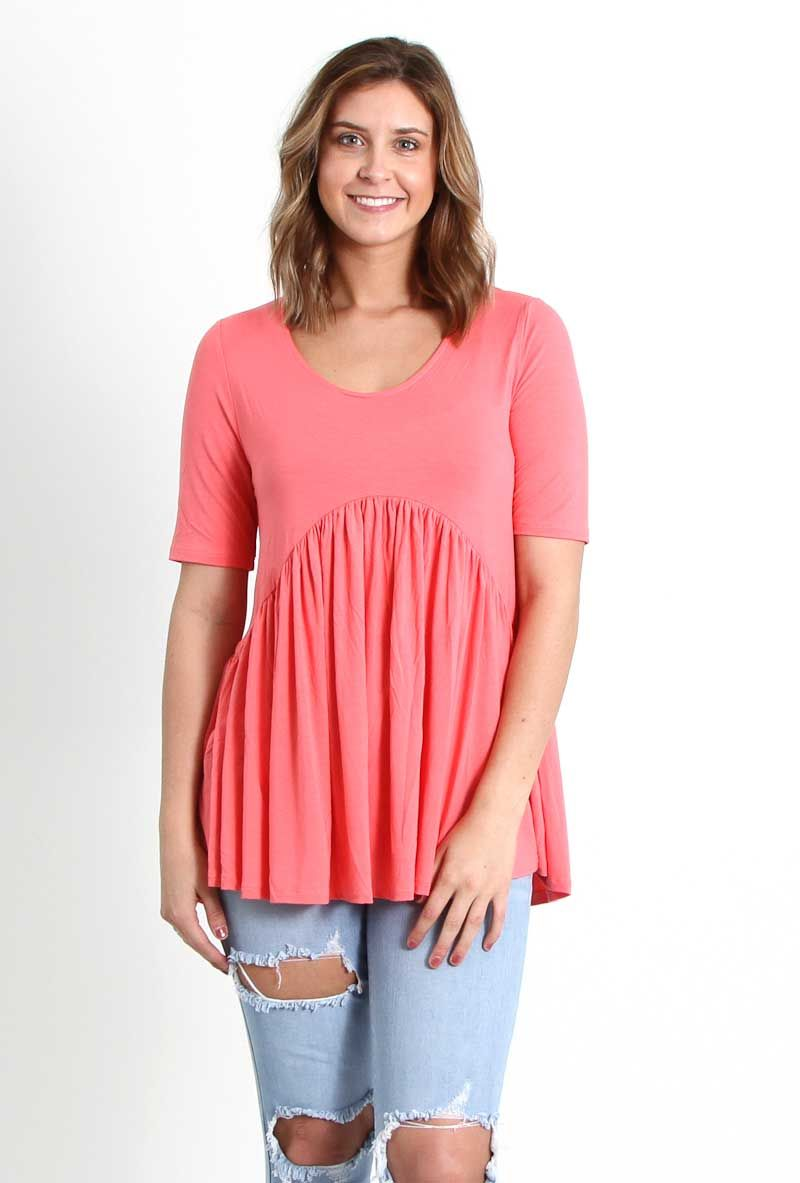 e177a9c6efc Piko Tops Short Sleeve Babydoll Shirt in Peach Echo