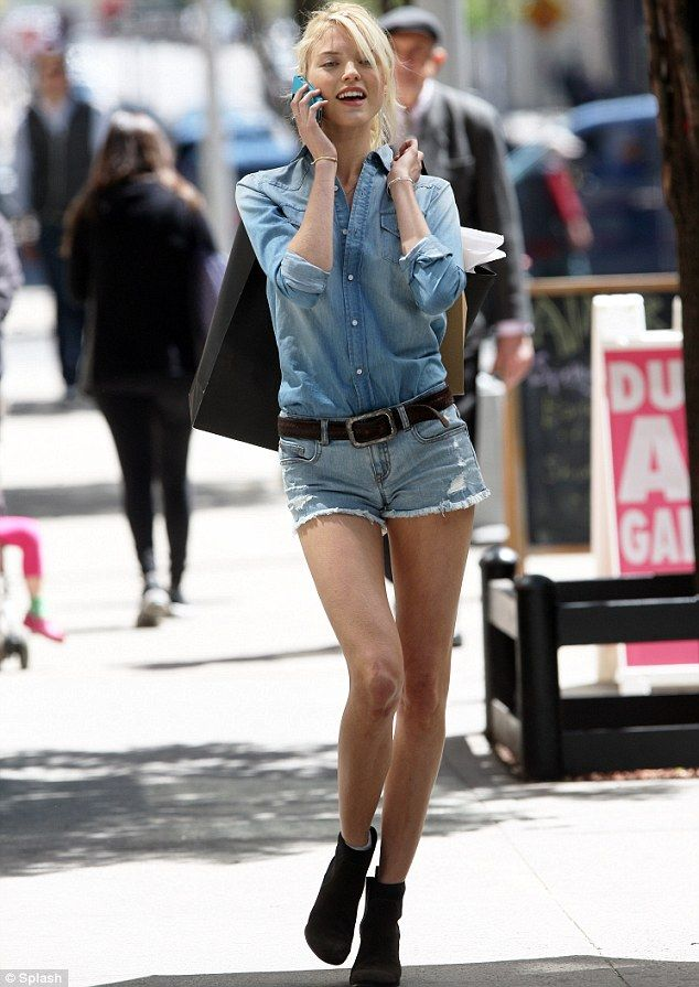 7069f0bc95f Victoria s Secret model Martha Hunt showed off her long legs in a pair of  denim shorts for a on Thursday