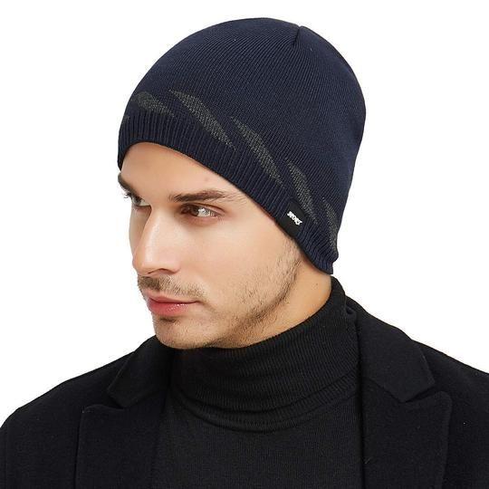 f7360e98703 Men Knitting Hats Winter Warm Plain Beanie Toboggan Knit Cap –  Valentafashion