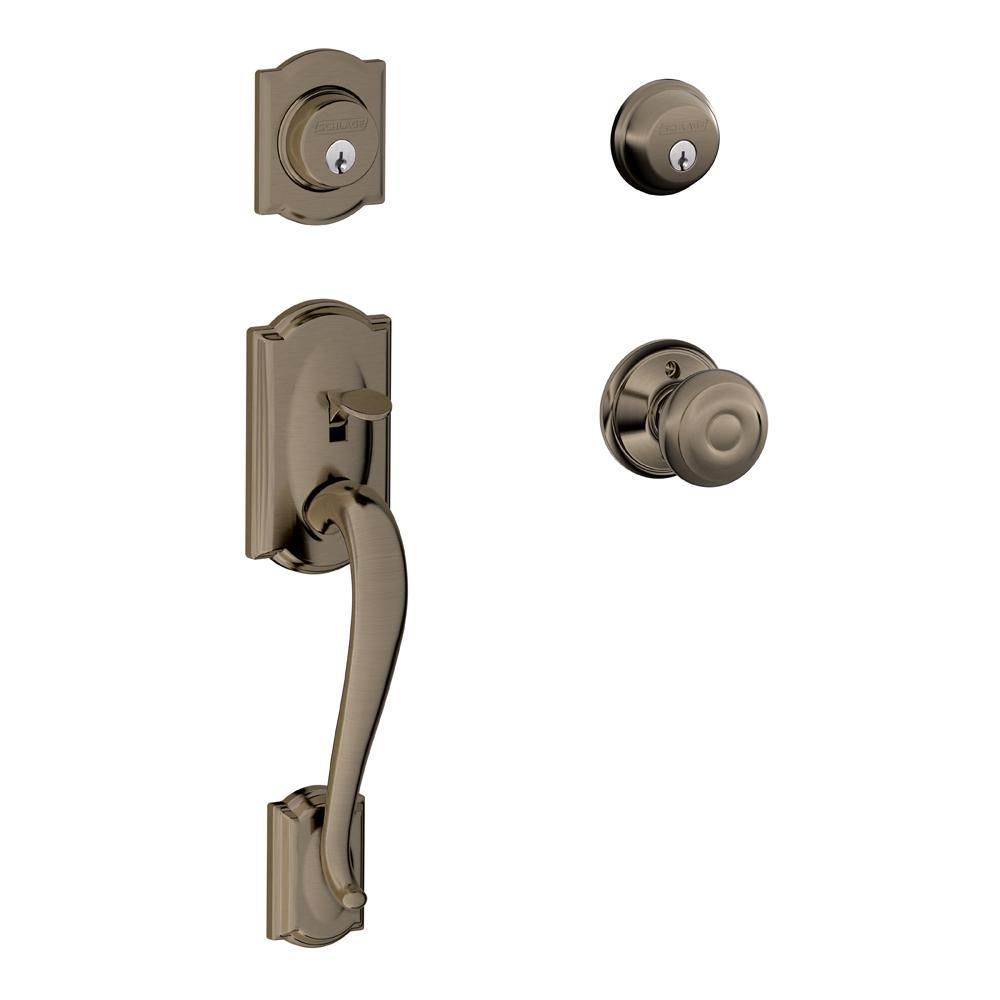 Superbe Schlage Camelot Antique Pewter Double Cylinder Deadbolt With ...
