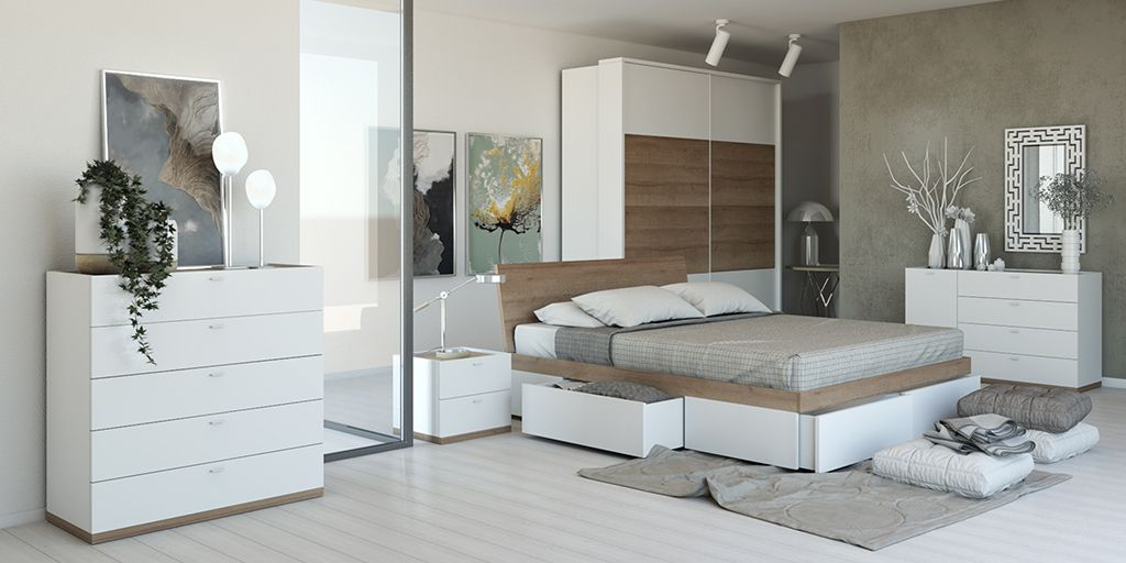 Chambre adulte moderne PASSACOEUR chêne et blanc mat, fabrication