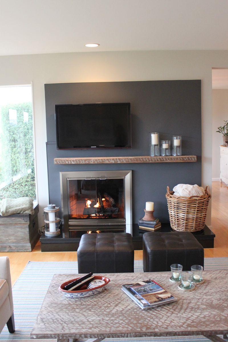 Farmhouseurban Home Fireplace Off Center Fireplace Living