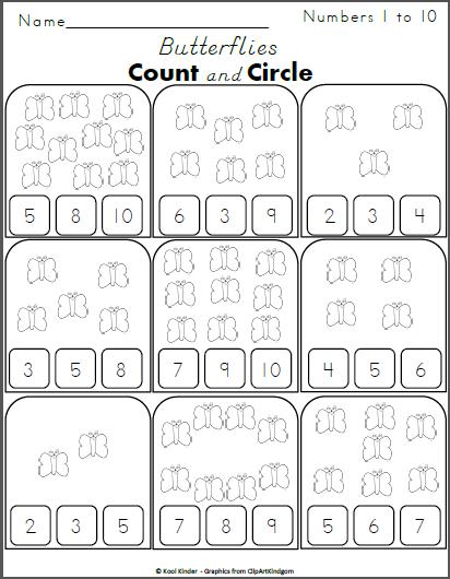 Count The Butterflies And Circle The Numbers 1 To 10 - Madebyteachers Counting  Activities Preschool, Numbers Preschool, Kindergarten Math Worksheets