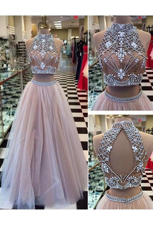 Charming Two Piece Prom Evening Dress White Floor-Length Backless Tulle  Rhinestone b52487c6881e