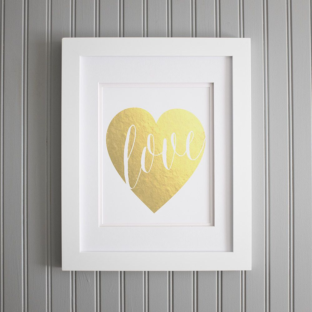 Faux Gold Love Heart Print, Romantic Print or Poster, Love Decor ...