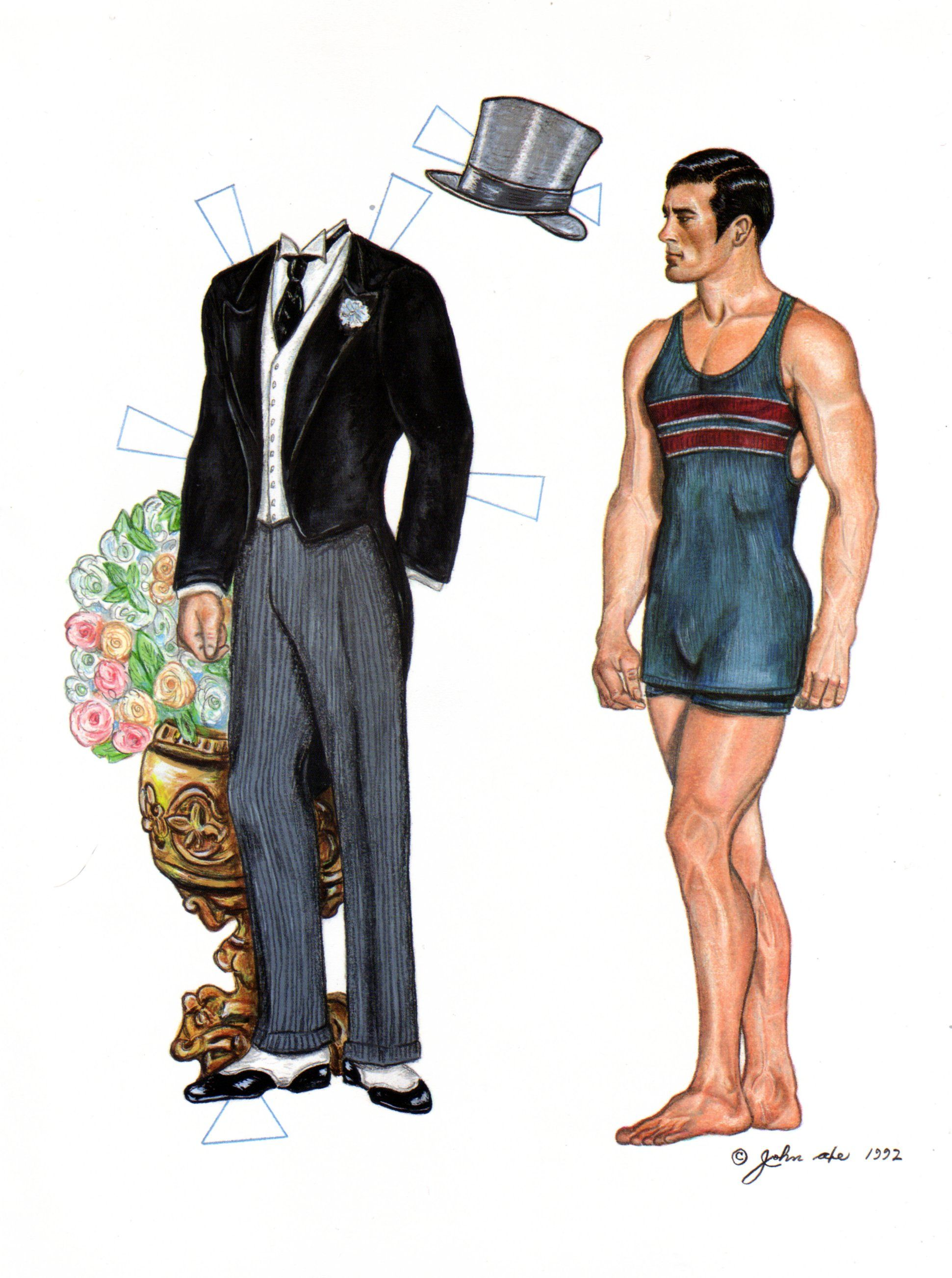 John Was One Of Our Best Artists For Rendering Male Paper Dolls Heres Neil In His Swim Togs Staring At A Formal Suit Top Hat