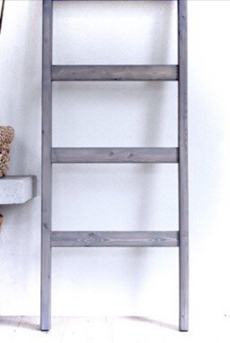 Photo of 6 Ft [Wide] Wooden Decorative Blanket Ladder   5 Rung, Stained Weathered Gray