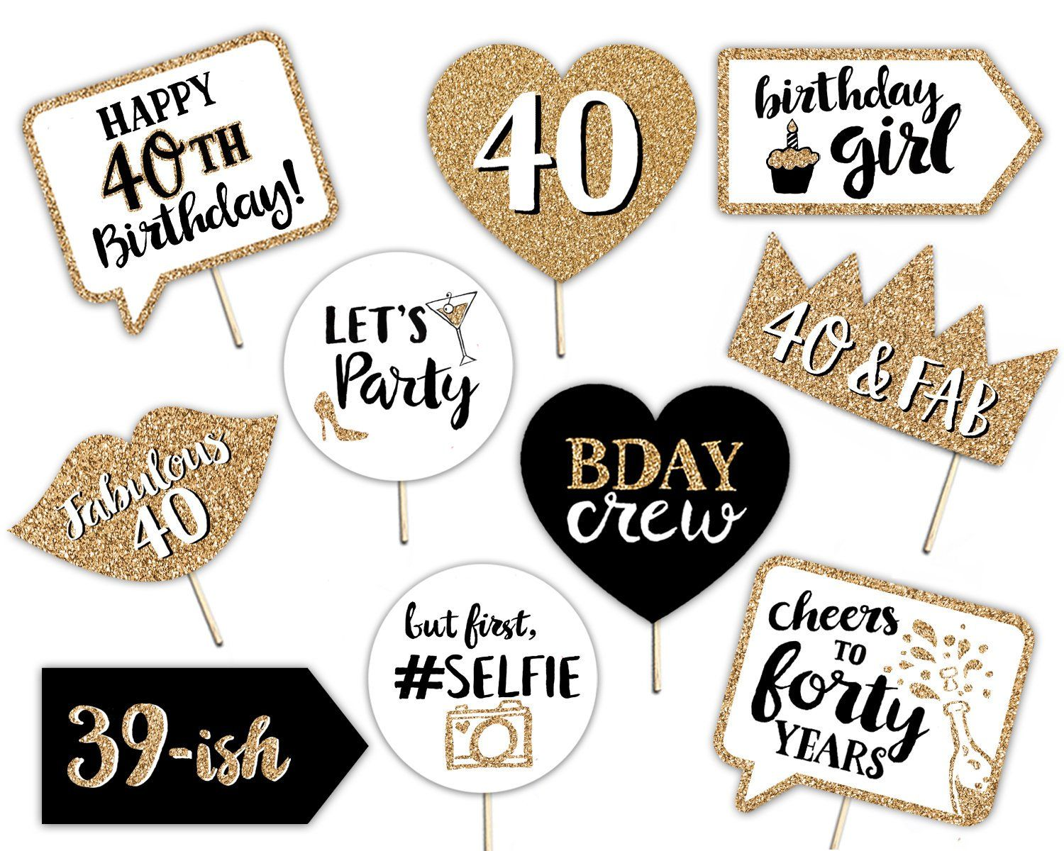 40th Birthday Printable Photo Booth Props Gold Black And Etsy Birthday Printables Birthday Props Birthday Photo Props