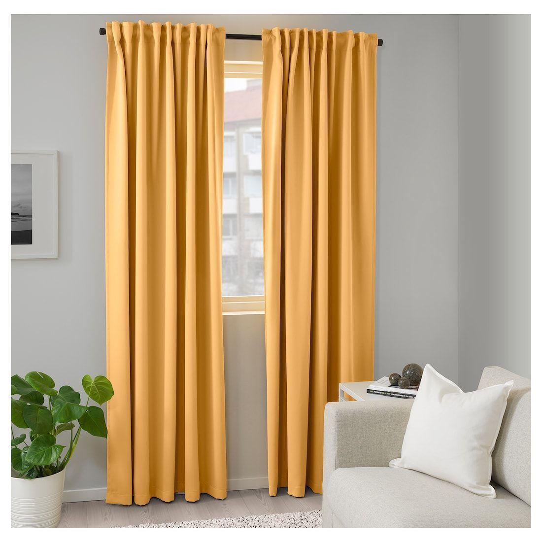 Majgull Yellow Room Darkening Curtains 1 Pair 145x250 Cm Ikea In 2020 Yellow Curtains Living Room Curtains Room Darkening Curtains