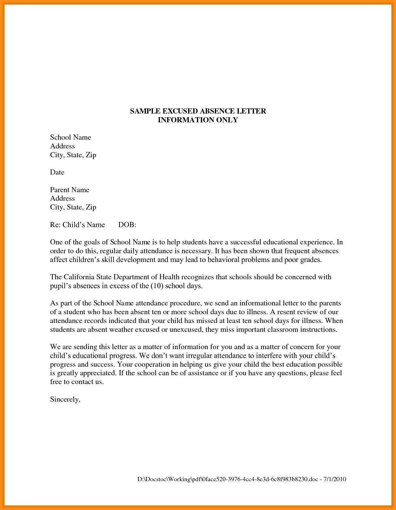 Valid Sample Leave Letter For Kids Pdf Letter To Parents