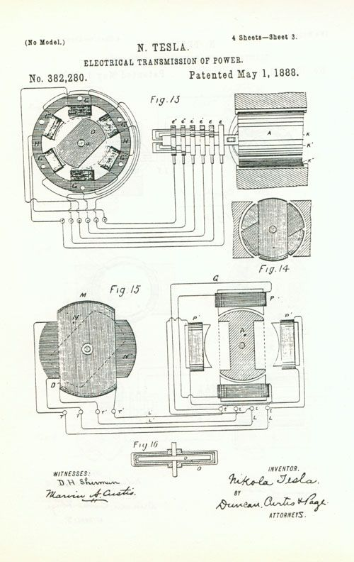 Nikola Tesla's patent for electrical transmission of power which is based on Rotating Magentic Field principle.