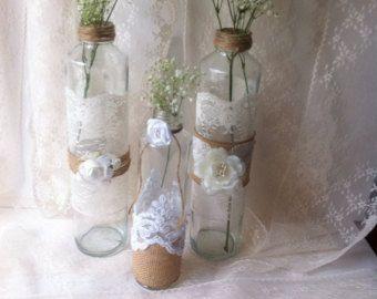 Rustic Wedding decor / cottage chic rustic wedding decor / baptism table center piece decor / upcycle bottles and jar / shabby home decor