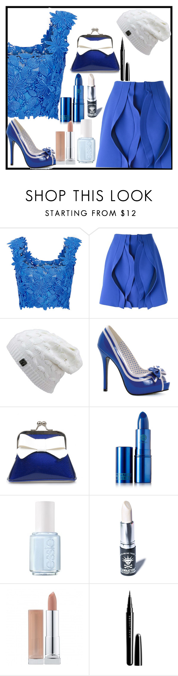 """Untitled #352"" by moniquedawson09123 ❤ liked on Polyvore featuring moda, Monique Lhuillier, Opening Ceremony, Ellie, Sourpuss, Lipstick Queen, Essie, Manic Panic e Marc Jacobs"