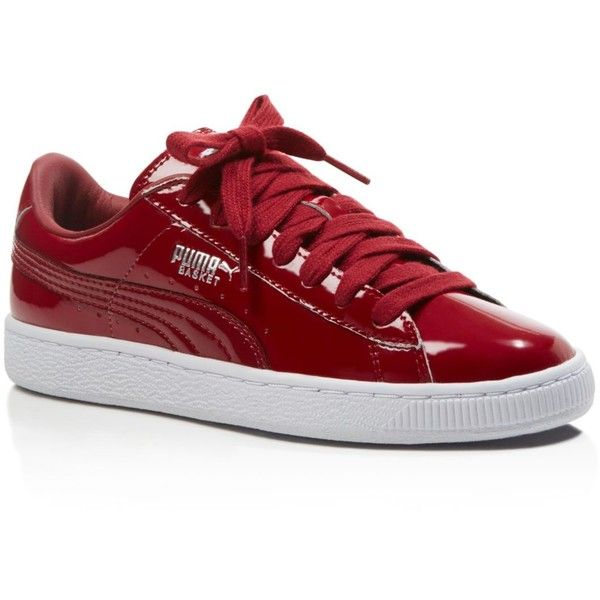 puma basket matte and shine lace up sneakers