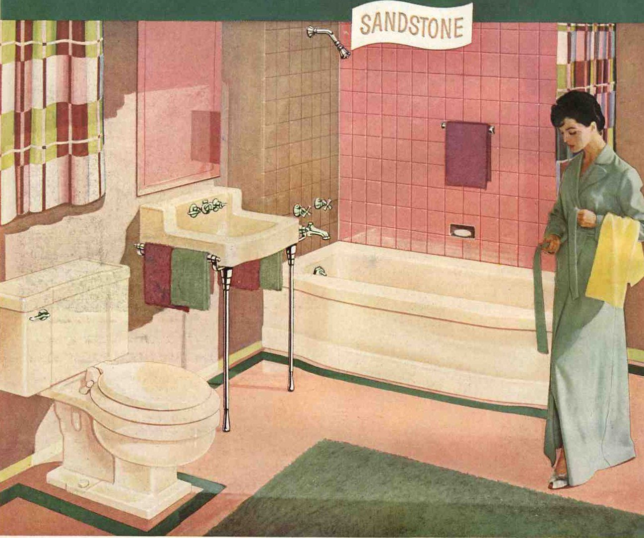 A Pink And Brown 50s Bathroom Soothing Pretty And Retro Retro Bathrooms Pink Bathroom Pink Tiles