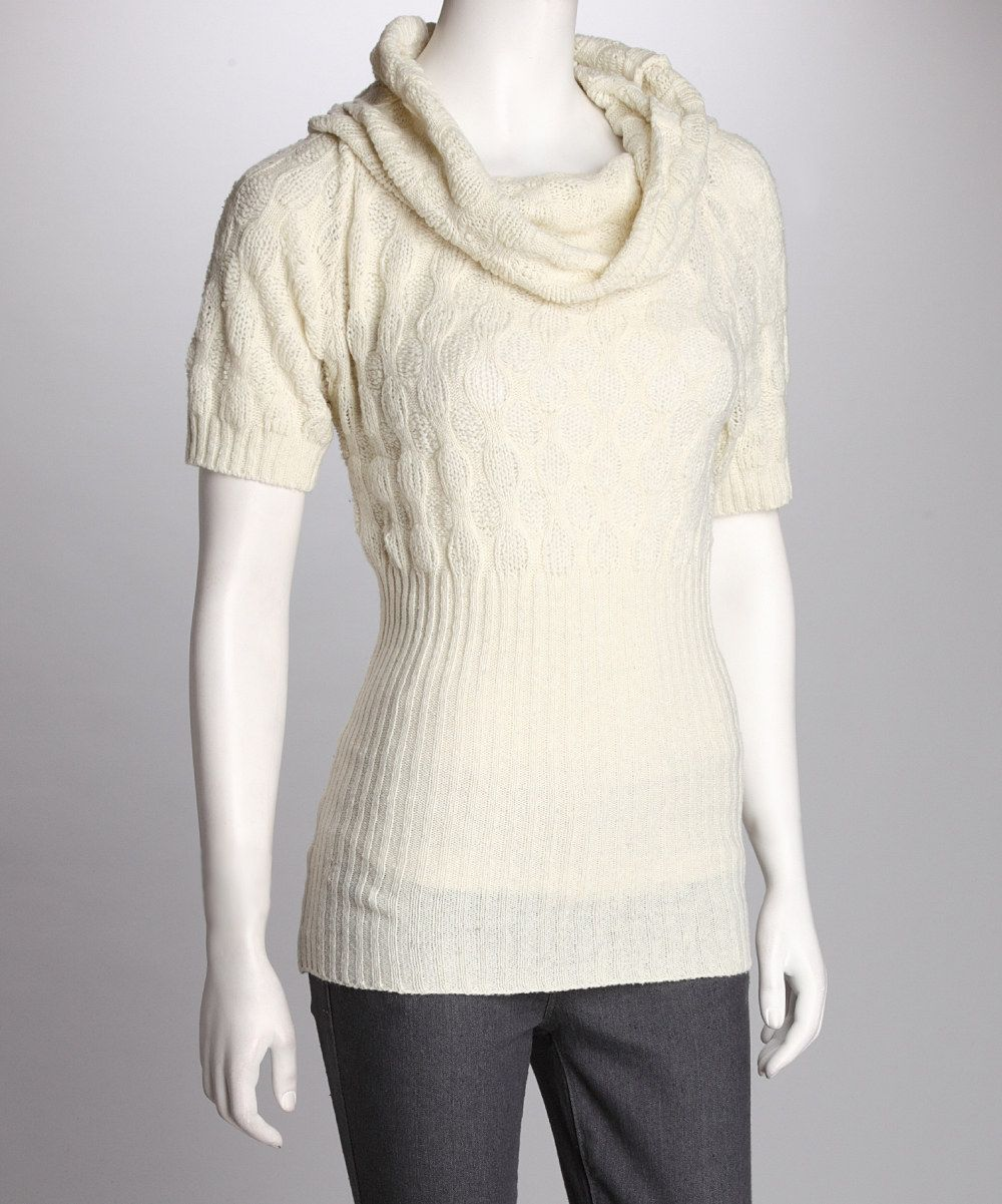 Off-White Ribbed Cowl Neck Sweater | Cowl neck and Silhouettes