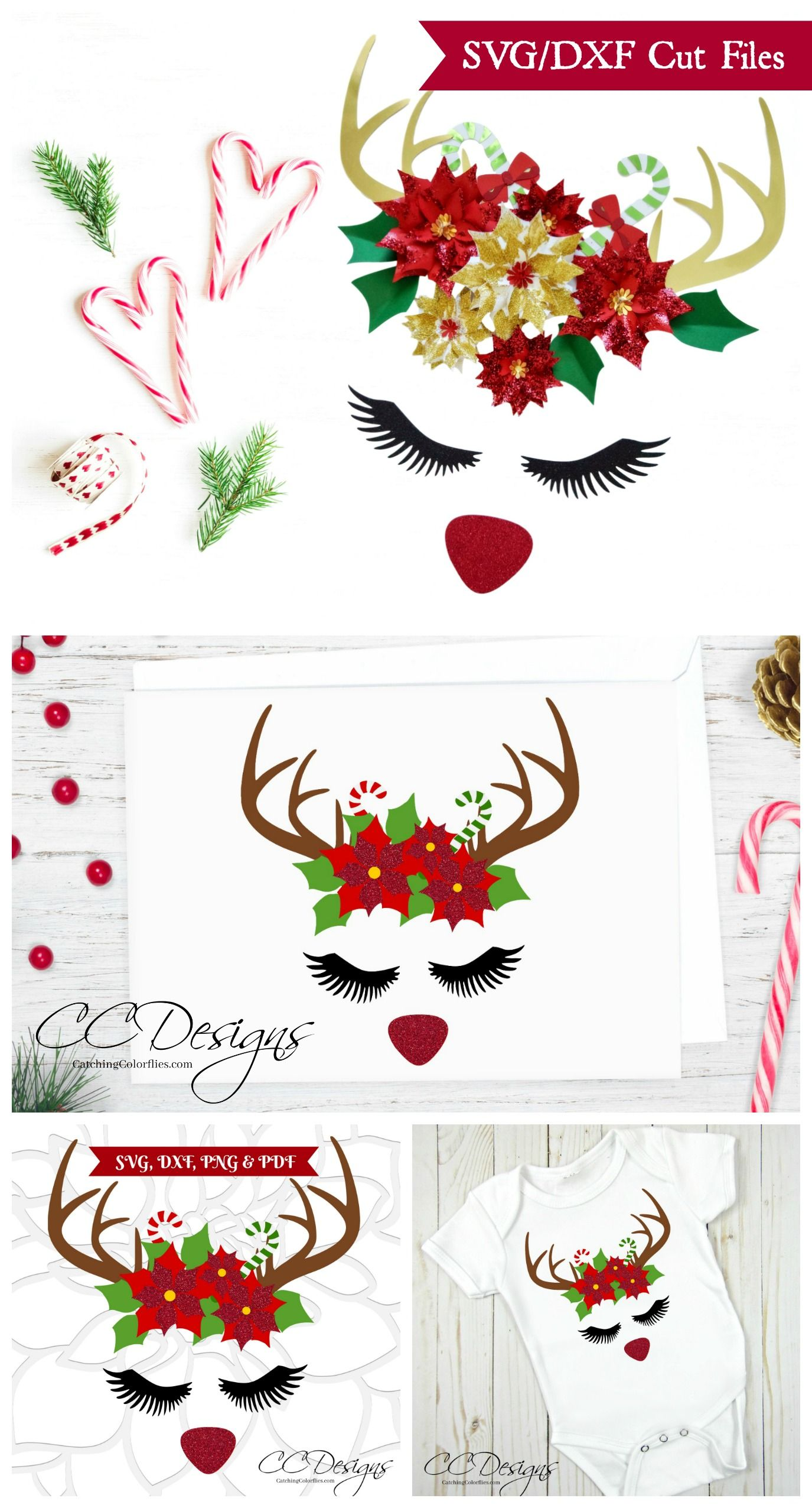 Red Nose Rudolph Reindeer Svg Cut File Rudolph Head Poinsettia