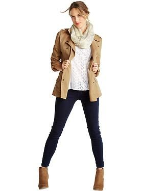 Women's Clothes: Featured Outfits Outfits We Love | Old Navy - skinny jeans; khaki jacket; ankle boots; neutral top; scarf