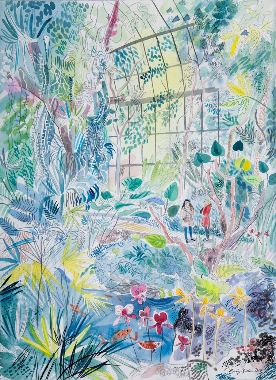 39 glass house jardin des plantes 39 is one of the watercolours emily sutton will exhibit at her. Black Bedroom Furniture Sets. Home Design Ideas