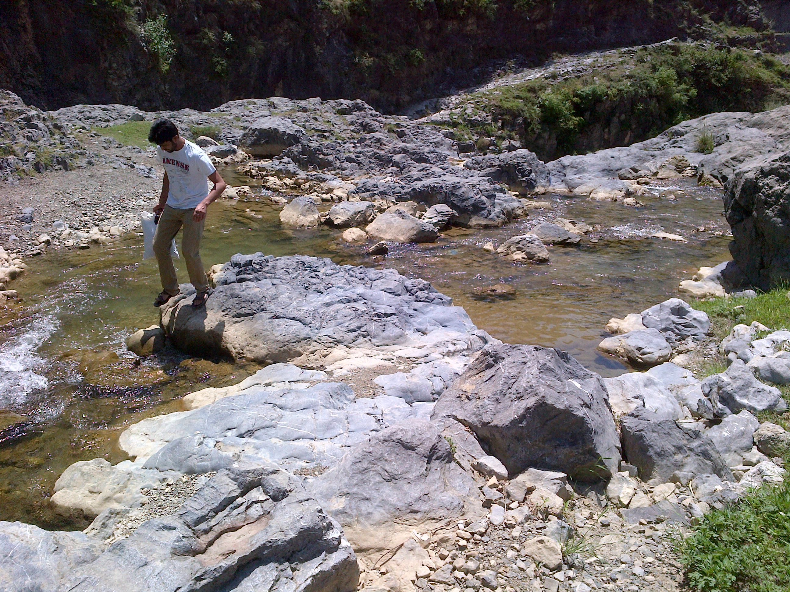 Rashid Minhas, negotiating the water inlet to waterfalls
