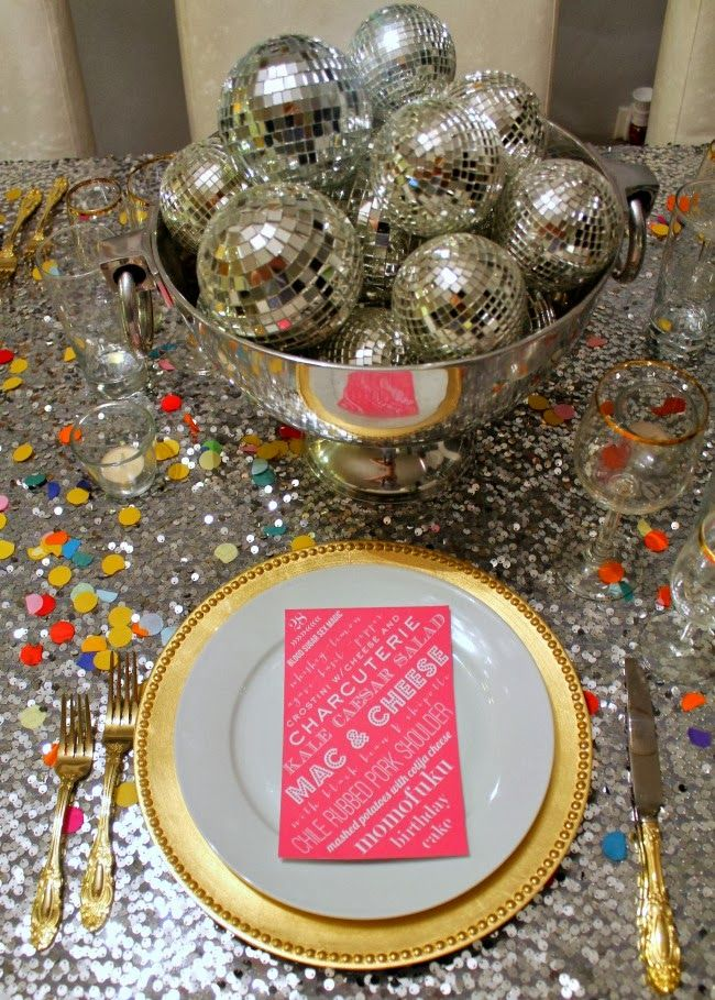 Great Disco Ball Centerpiece And SERIOUSLY Glittery Tabletop!