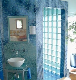Bathroom Ideas The Block wonderful bathroom view with blue acrylic glass block shower wall