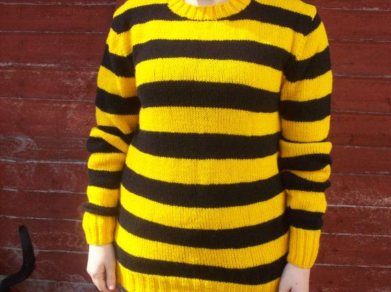 Yellow Black Crew Neck Jumper Sweater Hand knitted,44/46 inch ...
