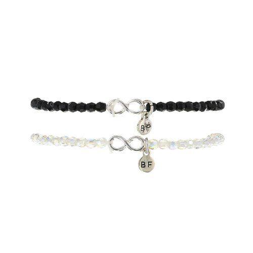 Claire's Women's 2 Pack Best Friends Infinity Stretch Bracelet In Black/Silver: Amazon.co.uk: Jewellery
