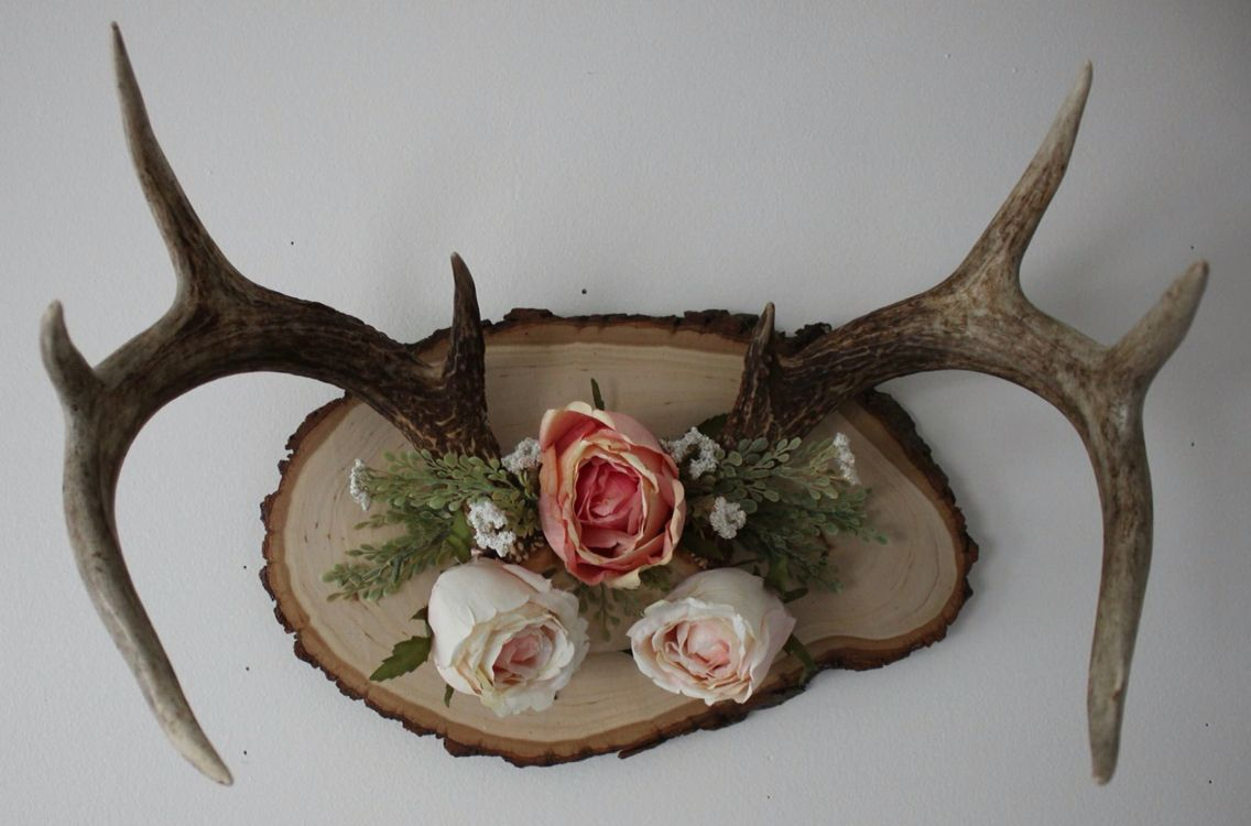Large Deer Antlers I Mounted And Then Decorated With Artificial Flowers Antlers Decor Deer Antler Decor Deer Decor