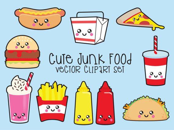 premium vector clipart kawaii junk food clipart kawaii food clip