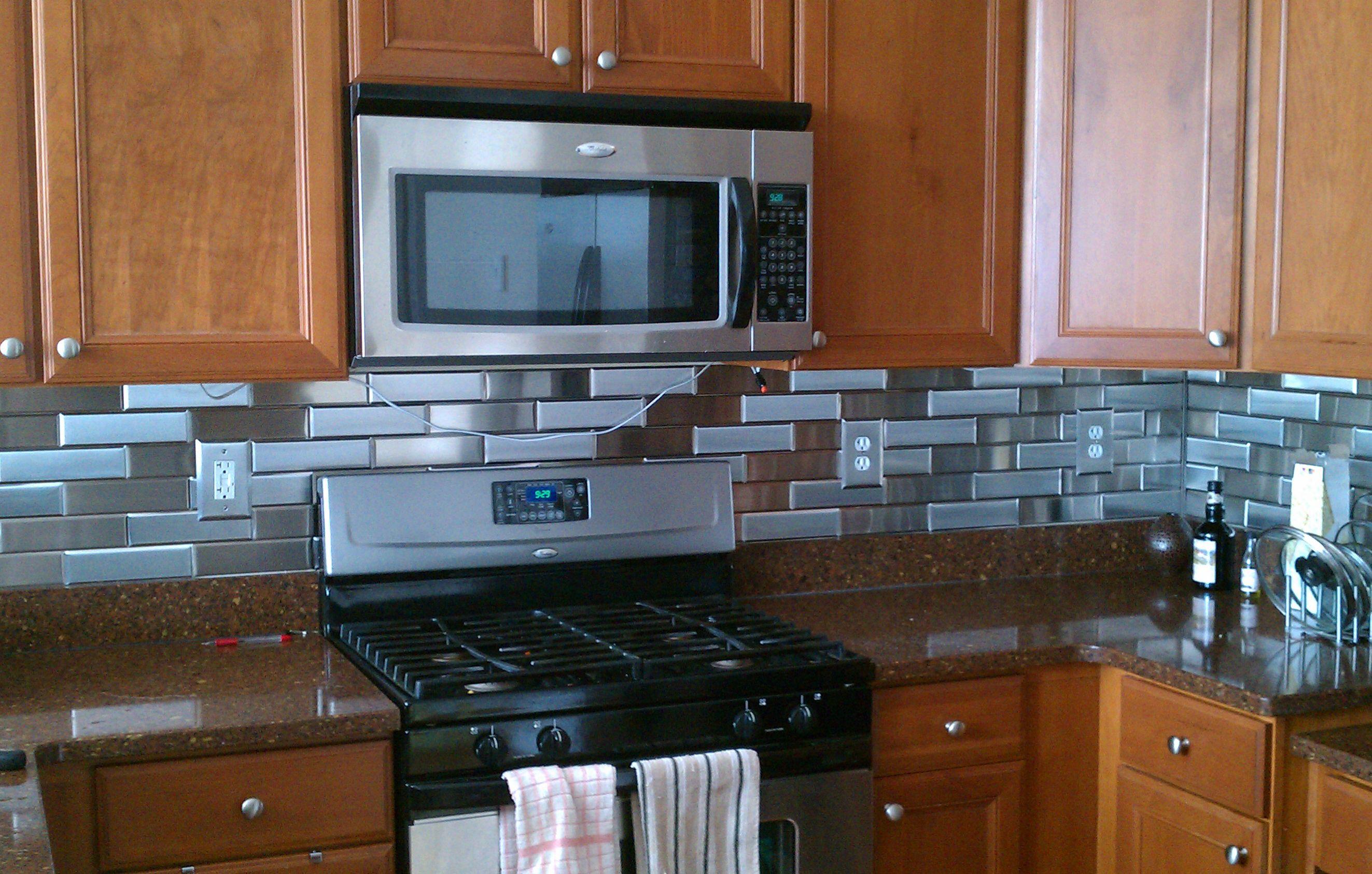 2 1 4 X 8 Brushed Stainless Steel Tiles Horizontal Grain Vertical