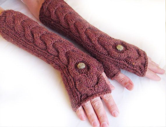 Dark Red Long Hand Knitted Gloves Cable Pattern by nastiadi