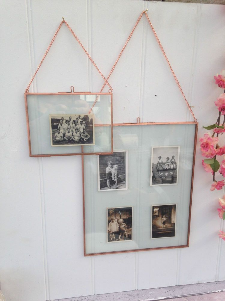 Hanging Copper Picture Photo Frames Double Sided Glass Choice Of
