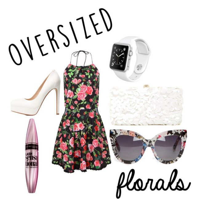 """""""Oversized Florals Contest"""" by jadenminix ❤ liked on Polyvore featuring Charlotte Russe, Deux Lux, Maybelline and Linda Farrow"""