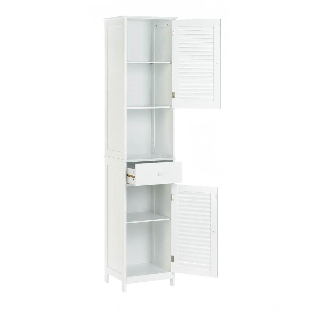 Best White Slatted Nantucket Style Tall Floor Cabinet With 400 x 300