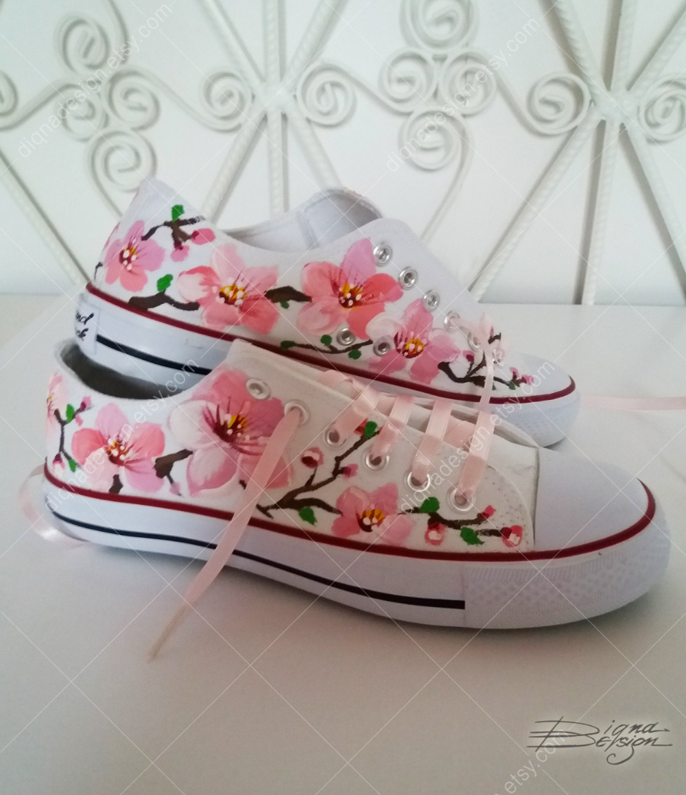 Cherry Blossoms Sneakers, Hand Painted Sakura Shoes