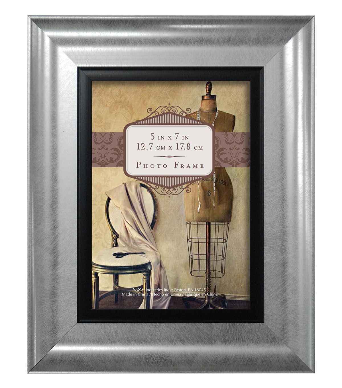 Superbe Tabletop Frame 5X7   Wedded Bliss Silver Black